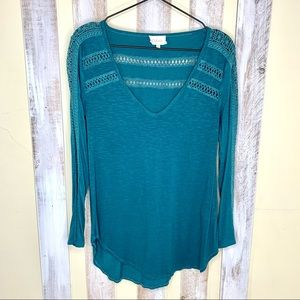 Deletta Teal Crocheted Lace Long Sleeve Top S